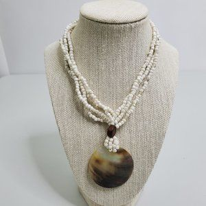 Shell Beaded Necklace White Seed Bead Mother Of Pe